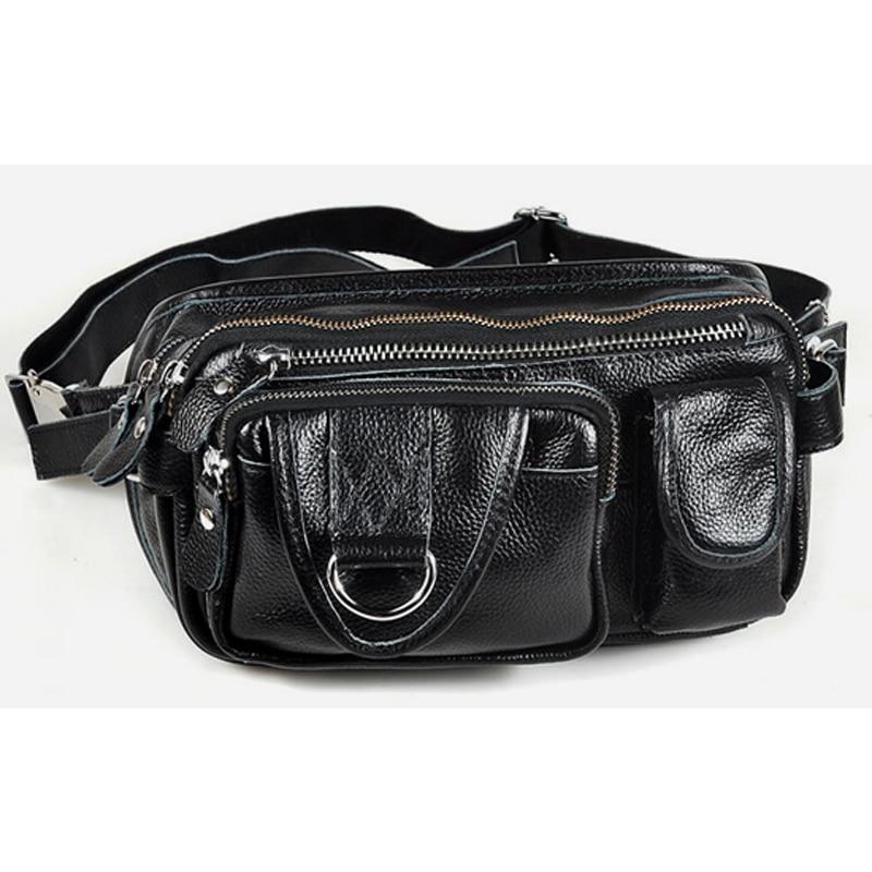 2019 New Genuine Leather Waist Packs men Waist Bag Leather Fanny Packs large Belt bag Money