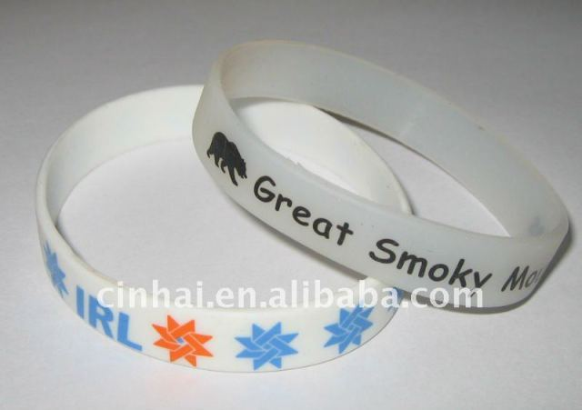 cost-effective Silicon Wrist band with customized 2colors printed logo