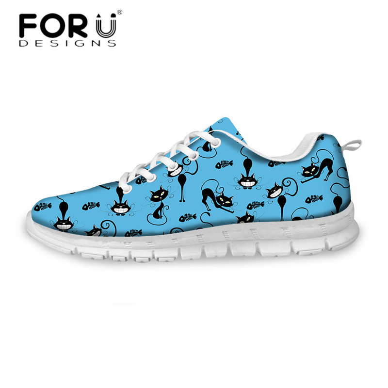 FORUDESIGNS New Women Casual Flats Shoes Cartoon Cat 3D Print Breathable Comfortable Sneakers Mujer Girls Lightweight Mesh Shoes instantarts cute glasses cat kitty print women flats shoes fashion comfortable mesh shoes casual spring sneakers for teens girls