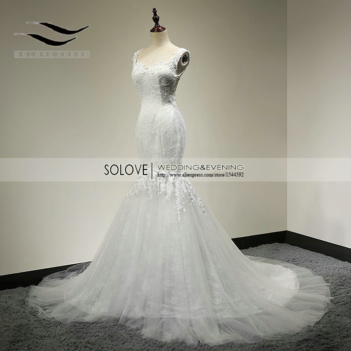 Real Picture Backless Sexig Lace Mermaid Wedding Dress 2015 Öppna Tillbaka Tulle Mermaid Bridal Dress Vestido de noiva 2015 SL89