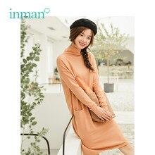 2c78d7e2fd9 INMAN hiver automne couleur unie col roulé mode fille coréenne décalage  femmes Long chandail tricoté tricots dames porter robe