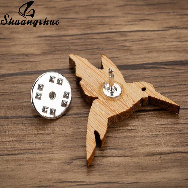 Shuangshuo Kayu Bros Hewan Burung Lencana Enamel Pin Vintage Bros untuk Wanita Perhiasan Aksesoris Sweater Dekorasi Pin