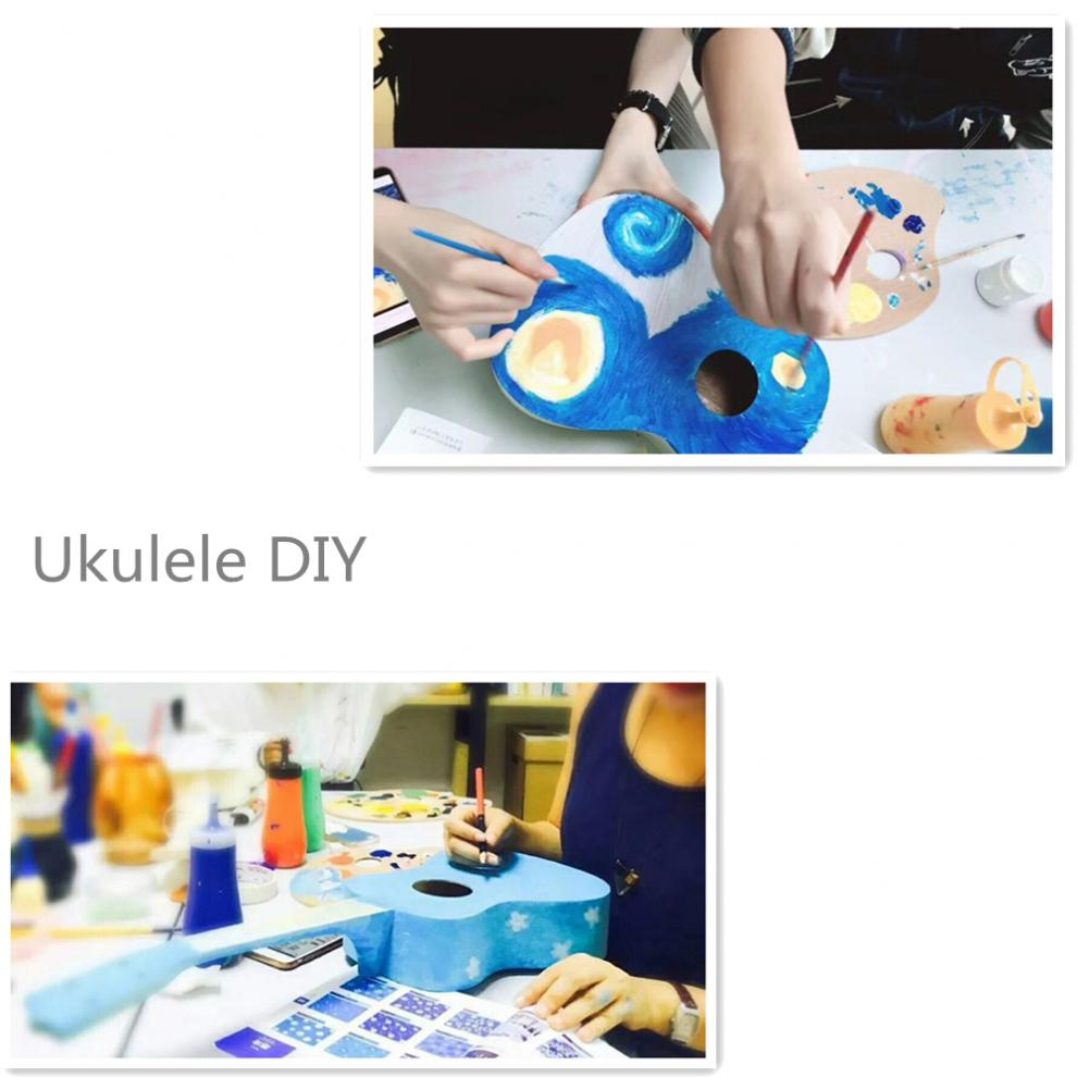 Купить с кэшбэком 21 Inch High Quality Ukulele DIY Kit Basswood Guitar with Kinds of Shape Hole for Handwork Painting Parents-child Campaign