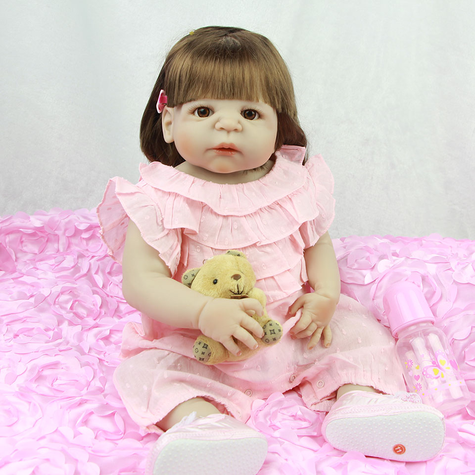 New Simulation Reborn Girls Babies Doll Full Body Silicone New Born Real Life 23 inch Baby Dolls With Pink Clothes For kids Toy