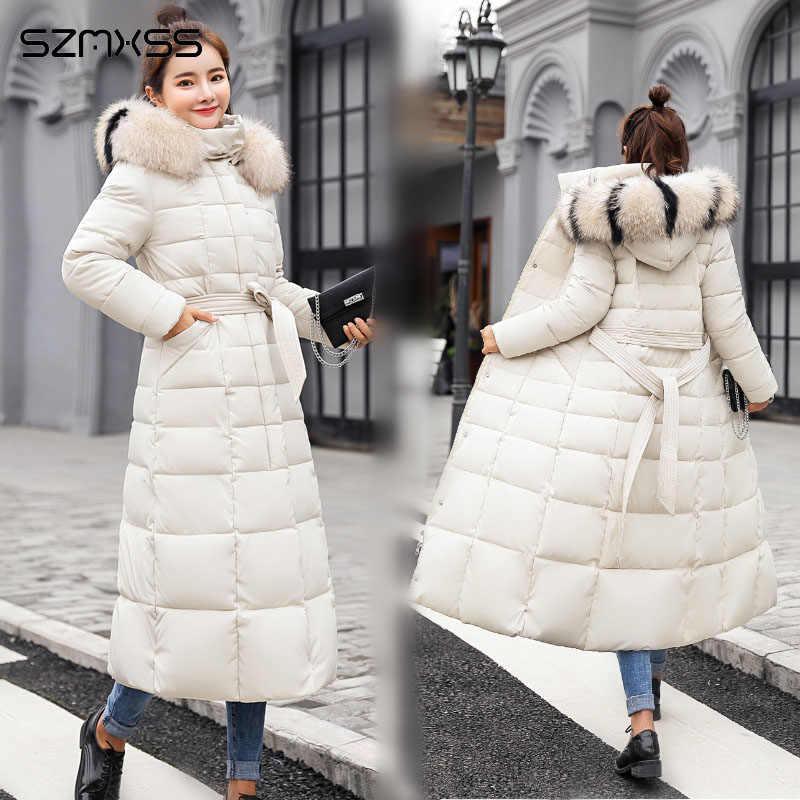 2018 winter neue lange mode Koreanische jacke frauen baumwolle parka große pelz kragen große größe winter mantel ropa invierno mujer