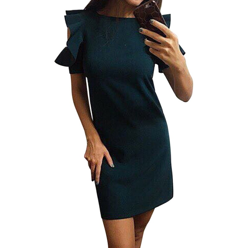 2019 New Fashion Women 39 s Straight Slim Fit O Neck Mini Dresses Flounce Short Sleeves Summer Casual Party Dresses in Dresses from Women 39 s Clothing