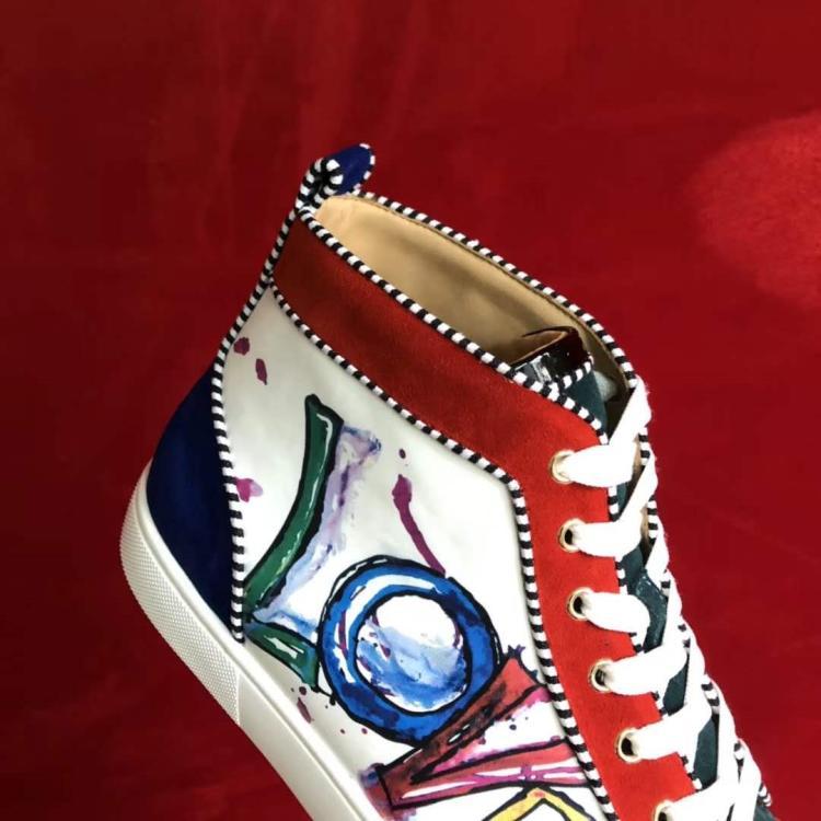 Rouge Grand Fond Peint Graffiti En Couple Luxe Aider Et Cuir Casual Amérique Femme Chaussures Mode De Femmes Haute Europe Marque qtxFRUwB