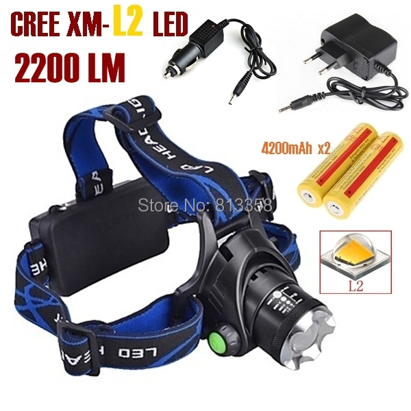 AloneFire HP79 CREE XM-L2 LED 3800LM Rechargeable Headlight Headlamp light led + 2x 18650 Battery + AC Charger+ Car charger original boruit 3x cree xm l xml t6 led 5000luems rechargeable headlamp head light 2x 18650 battery charger car charger