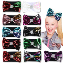 Jo Jo 1Pc Kids Girls Sequins Headbands Rabbit Ears Headband Mermaid Fish Scales Bow Hairbands Hair Band Accessories For Children(China)