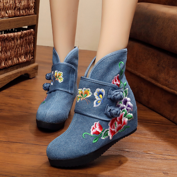 New Retro design autumn exquisite double butterfly embroidery ladies boots casual fashion wedge heel women ankle