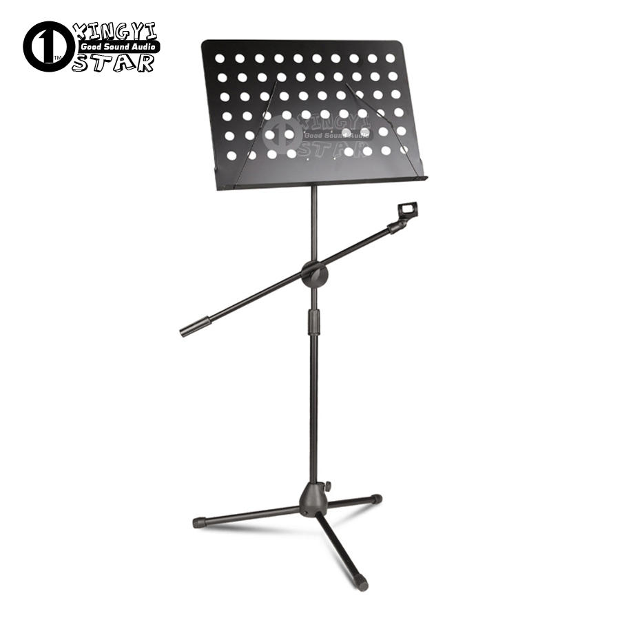 Metal Adjustable Sheet Music Stand Microphone Holder Clamp Tripod Folding Foldable With Mic Clip For Computer Stage Singer Sing colourful sheet folding music stand metal tripod stand holder with soft case with carrying bag free shipping wholesales