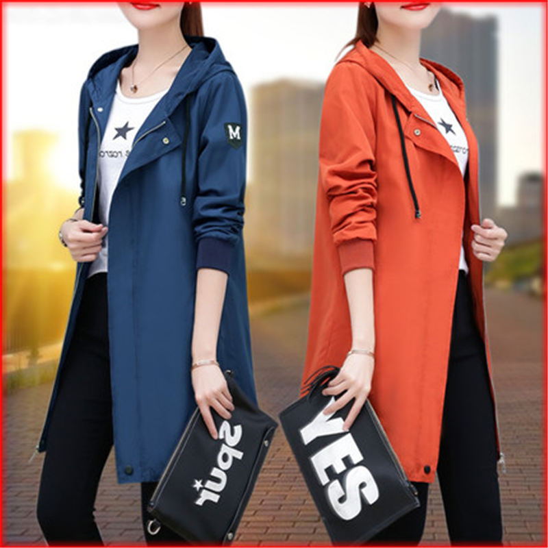 NEW fashion Plus Size Long   Trench   Coat Women 2019 Spring Autumn Hooded Outerwear & Overcoat Girls Casual Windbreaker Female V493