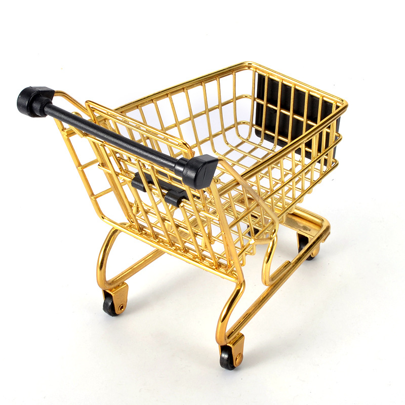 bb292f213 Mini Shopping Cart Creative Mini Supermarket Gold Trolley Storage Basket  Iron Metal Trolley Set Basket 2 Colors
