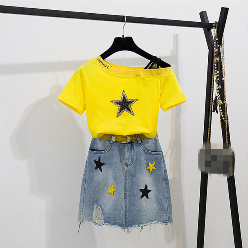 Women Summer Casual Two Piece Set Sequined Stars Slash Neck T-shirt+ Embroidery Star Tassel Denim Skirt With Belt