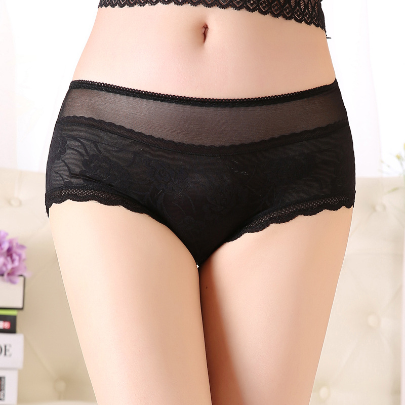 Image 4 - High Waist Large Size Panties Women'S Underwear Big Sexy Lace Transparent Briefs Plus Size Female Underpants Lingerie Xxxl XxxxL-in women's panties from Underwear & Sleepwears