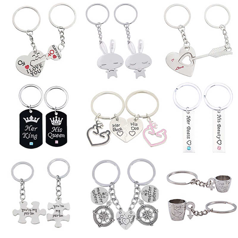"""2 Pcs Puzzle Letter """"You're My Person"""" Couple Keychain Lovers BBF Cute Key Ring Holder Love Heart Best Friends Gift Dropshipping"""