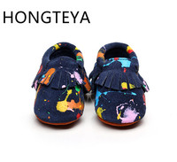 2016 New Arrivals Graffiti Suede Genuine Leather Baby Moccasins Shoes Newborn First Walkers Soft Sole Infant