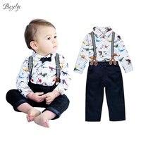 2017 Baby Srtap Jongens Kleding Set Gentleman Baby Boy Outfit voor Kinderen Lente Herfst Katoen Pasgeboren Jongen Print Shirt + broek