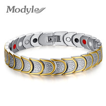 Modyle Gold-Color brand new women multi fuction men magnetic bracelet jewelry healthy care carbon bracelets&bangles for men(China)
