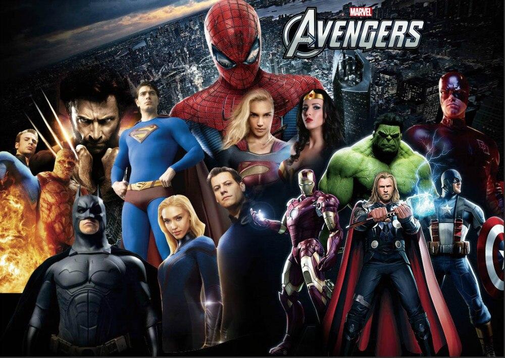 10x10ft avengers assemble spiderman hulk superman super heroes photography studio backdrops - Heros avengers ...