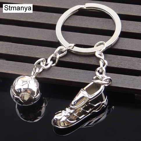 Fashion Football Metal Keychain Men Gift Key Chain Soccer Shoes And Football Car Key Ring Gift Party Keychains Jewelry
