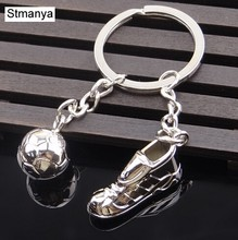 Fashion football Metal Keychain men gift Key chain Soccer Shoes and Football Car Key Ring Gift party Keychains Jewelry(China)