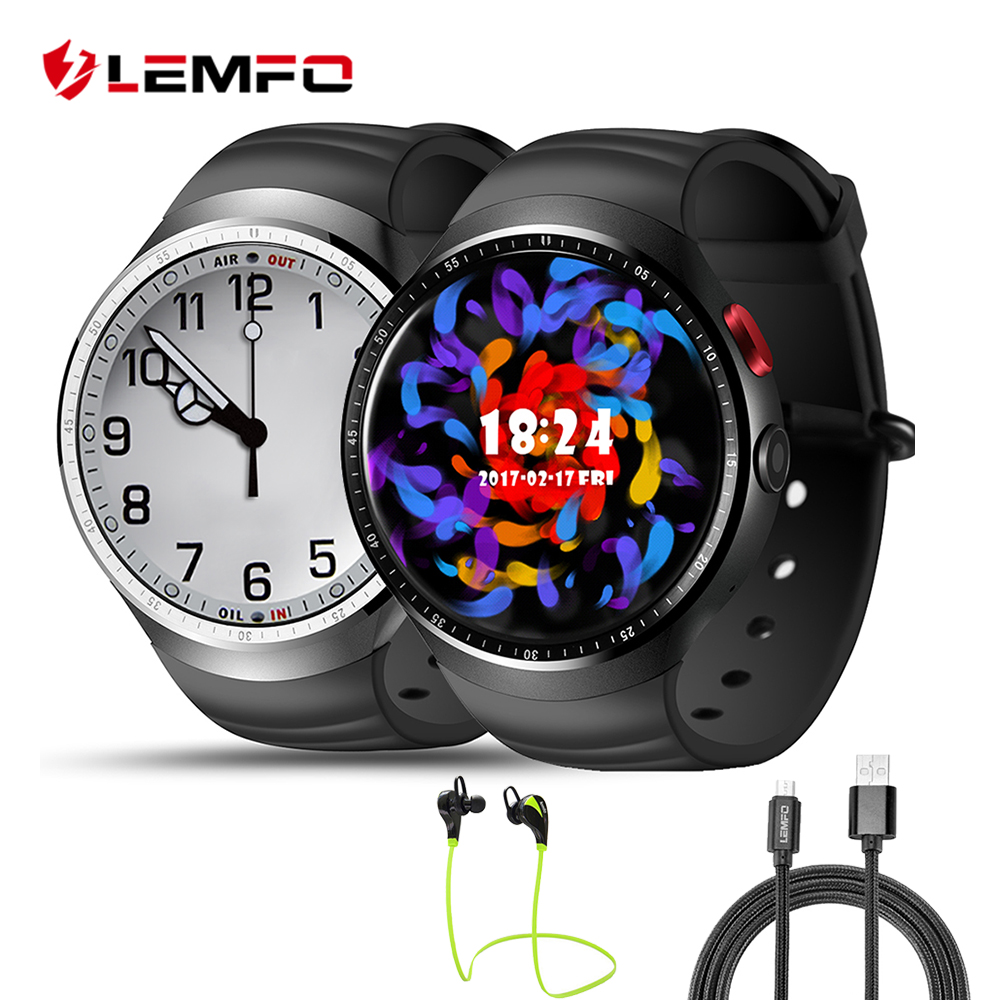 LEMFO LES1 Android Smartwatch Phone RAM 1GB + 16GB support Weather Heart Rate Monitor GPS Smart watch for Android IOS Phone no 1 d6 1 63 inch 3g smartwatch phone android 5 1 mtk6580 quad core 1 3ghz 1gb ram gps wifi bluetooth 4 0 heart rate monitoring