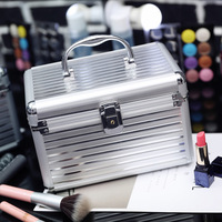 Fashion Silver Cosmetic Bags for Women Girls Large Capacity Metal Storage Boxes Professional Portable Safe Cosmetics Case