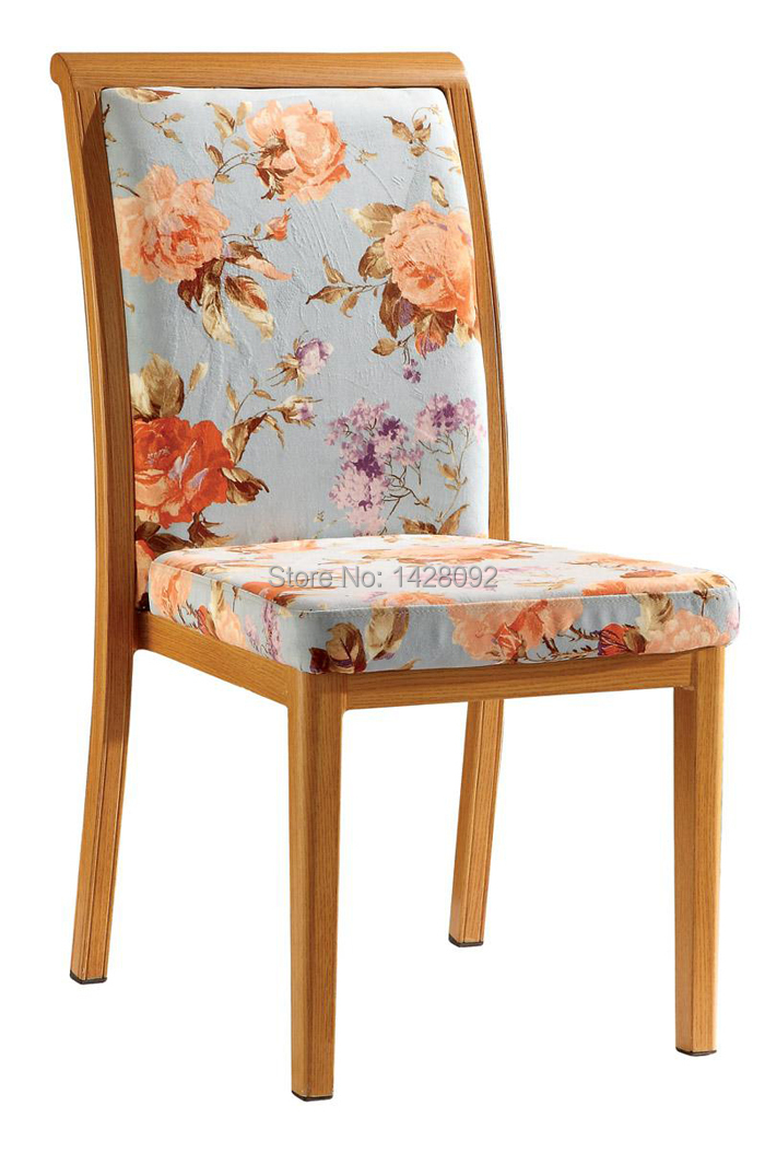 Woodgrain Upholstered Aluminum Dining Chair LQ-L288