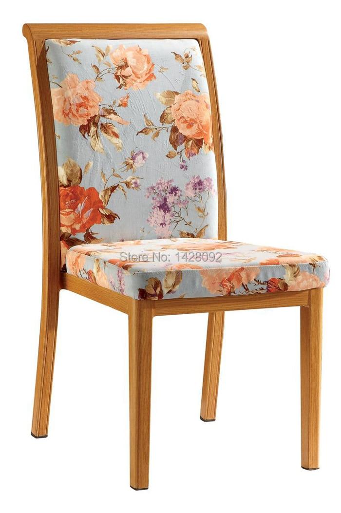 Woodgrain Upholstered Aluminum Dining Chair LQ-L288