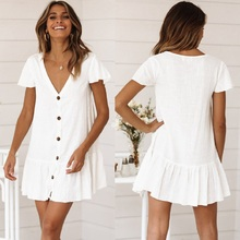 White Cotton Tunic Beach Mini Dress Summer Women Beachwear Sexy V-Neck Button Front Swimsuit Cover Up women s woven v neck embroidered cotton tunic swimsuit beach cover up