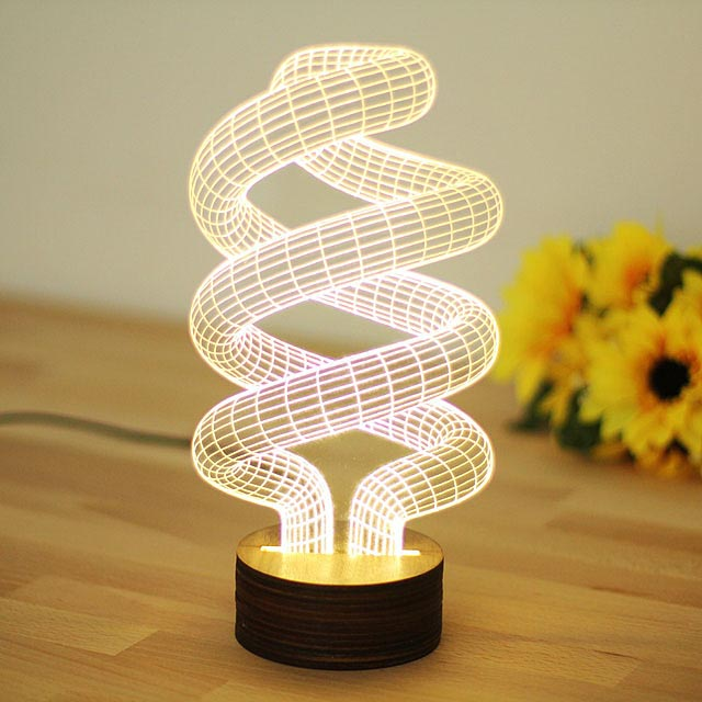 Moza Creative Dna Shaped 3d Bedroom Lights Led Night Lamp Usb Table