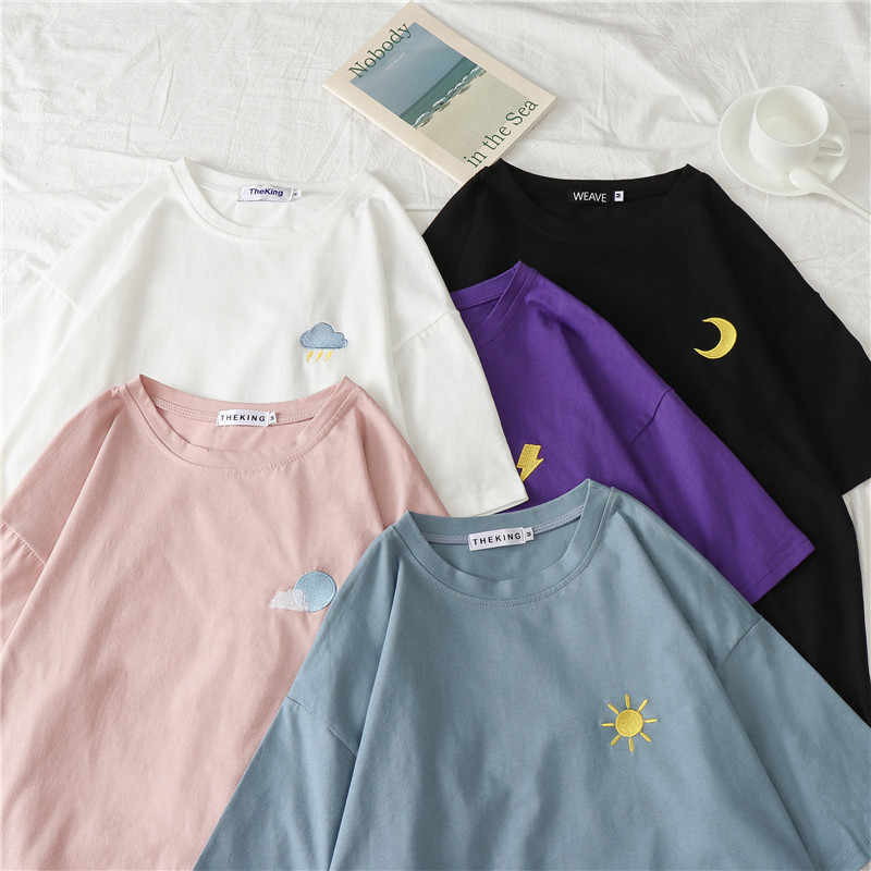 Cute Sun Moon Cloud Weather Embroidery Female Plus Size T shirt Summer Grunge Shirts Women 2019 New Style Kawaii Loose Top