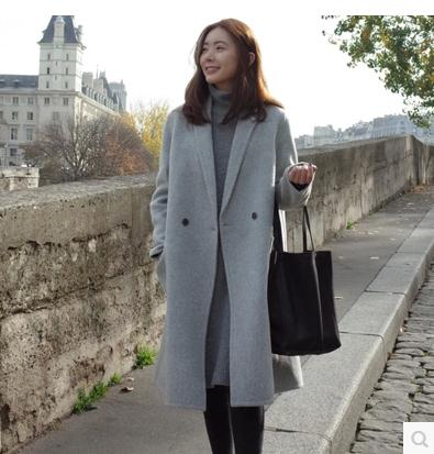 Womens Wool Cashmere Long Trench Coat Breasted Jacket Blazer