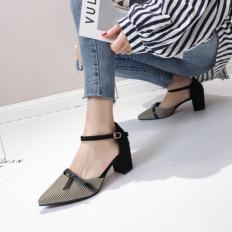 HKJL Spring 2019 new high heel women 39 s chunky pumps with a Korean version of pointy toe go well with student pumps A153 in Women 39 s Pumps from Shoes