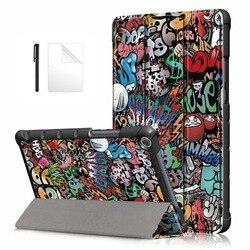Тонкий флип-чехол из искусственной кожи для Huawei MediaPad M5 lite 8 JDN2-W09/AL00 8,0 дюймов, умный чехол для huawei m5 lite 8, Чехол + пленка + ручка