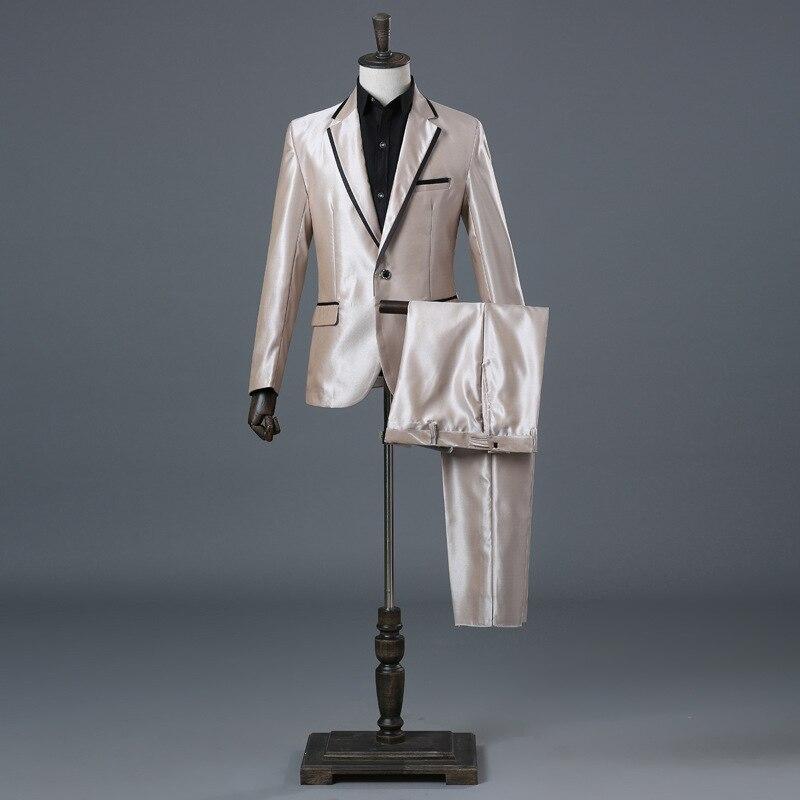 Smart décontracté châle revers hommes sexe couleurs deux pièces veste pantalon costume Slim scène Performance classique Costumes Blazer Costumes