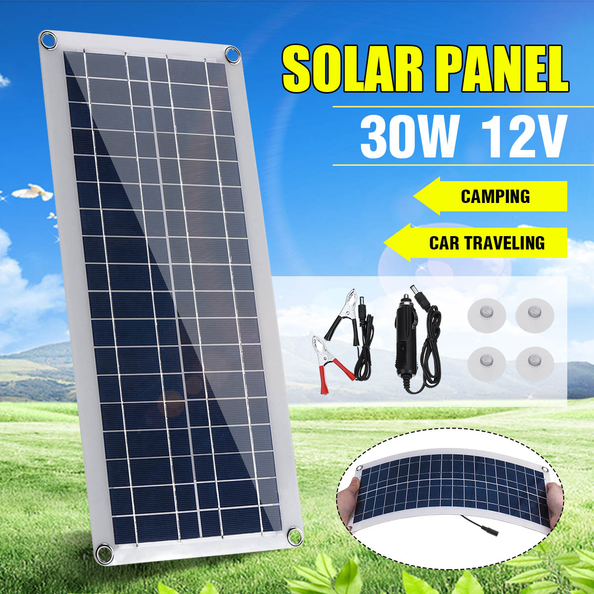 30W Solar Panel 12V Polycrystalline Double USB Power Portable Outdoor Solar Cell  Car Ship Camping Phone Charger W/Solar Charger