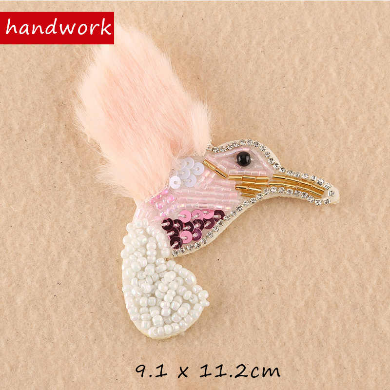... 1 pcs Sequined fur Flamingo Patch for Clothes Sewing on Rhinestone  Beaded Applique for Jackets Jeans ... 497383f4b0b0