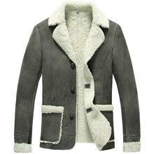 Men's winter retro classic  shearling wool lining blazer outerwear biker model  jacket coat