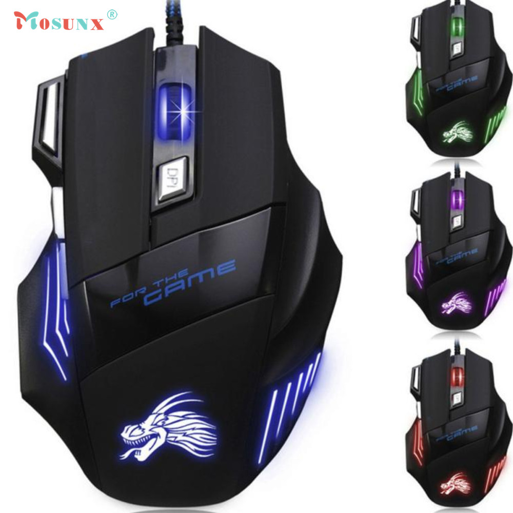 Top Quality Hot Selling Fashion Design 5500 DPI 7 Button LED Optical USB Wired Gaming Mouse Mice For Pro Gamer JUL 11