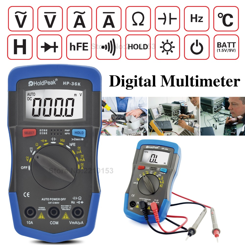 AC/DC Auto/Manual Range Digital Mini Multimeters Resistance,Capacitance,Inductance,Frequency,Diode hFE LCR Tester Back Light ut612 digital lcr meter with inductance capacitance resistance frequency tester