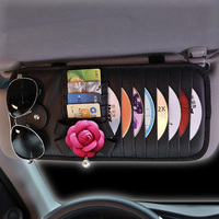 Car Styling Camellia Flower Car CD DVD Holder Disc Leather Storage Case Sunglasses Card Organizer Sun Visor Sleeve Wallet Clip