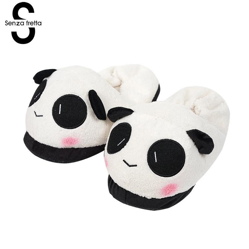 Senza Fretta Women Shoes Warm Slippers Winter Slippers Paragraph Velvet Soft Plush Panda Slippers Cartoon Animal Indoor Shoes men winter soft slippers plush male home shoes indoor man warm slippers shoes