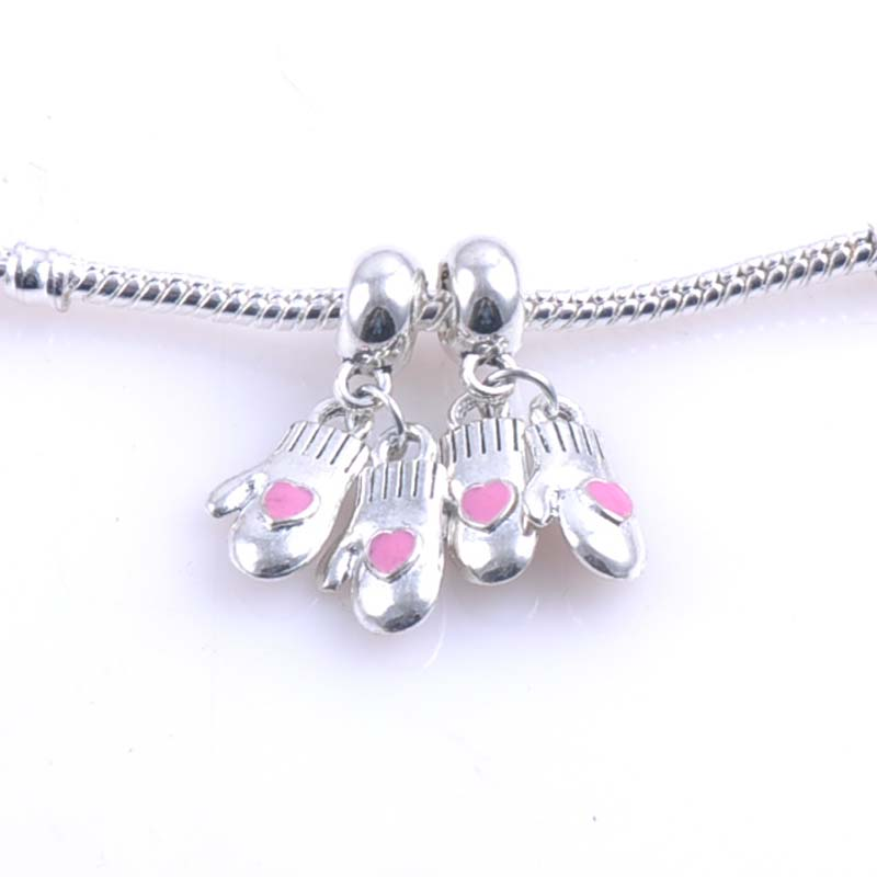 10 pcs 15x9mm Silver christmas gloves Spacers Beads charms Fit Pandora Charms Bracelets Jewelry Handmade DIY DK-057
