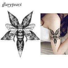 1pc Bee Pattern Tattoo Sticker KM-023 Women Body Art Temporary Waterproof Tattoo Design Large Fake Maple Leaf Decal Sticker