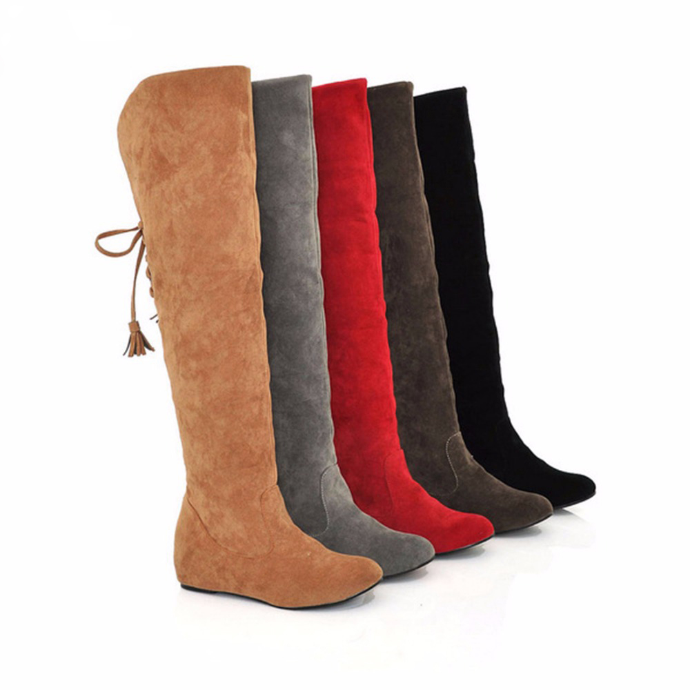 2016 New Womens Thigh High Boots Stretch Over The Knee Suede Leather Boots 35-43 Flat Heels Shoes Woman Winter Boots Botas ppnu woman winter nubuck genuine leather over the knee snow boots women fashion womens suede thigh high boots ladies shoes flats