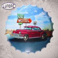 Motel Route 66 Motor Bottle Cap Vintage Tin Sign Art Prints Restaurant Rustic Wall Plaque Garage Bar Wall Decor 40cm