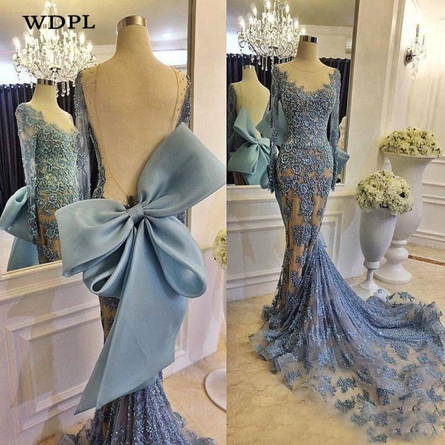 Real Pic Evening Dress Dusty Blue Appliqued robe de bal Long Tulle Sleeves Evening Party Dresses Mermaid Arabian Gowns Vestidos