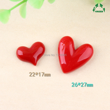Red Love Heart Resin Cabonchons 10pcs 22mm 27mm Flat back DIY Embellishments Round Flatback Cabochon Scrapbook